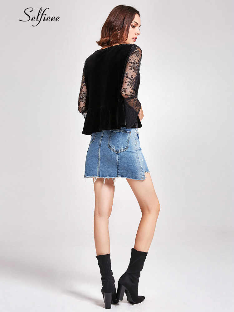 春秋ベルベットクロップトップス女性 Tシャツファッションレースフレアスリーブ Tシャツレディースセクシーなディープ V ネックベロアトップス