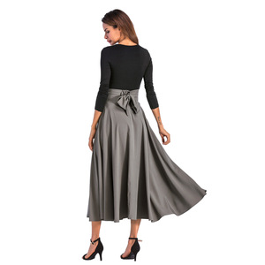 Image 2 - 2019   Womens Skirt Big swing skirt Elegant Solid Skirt with Bow Invisible Pocket Black Colors   Plus Size Women Skirt
