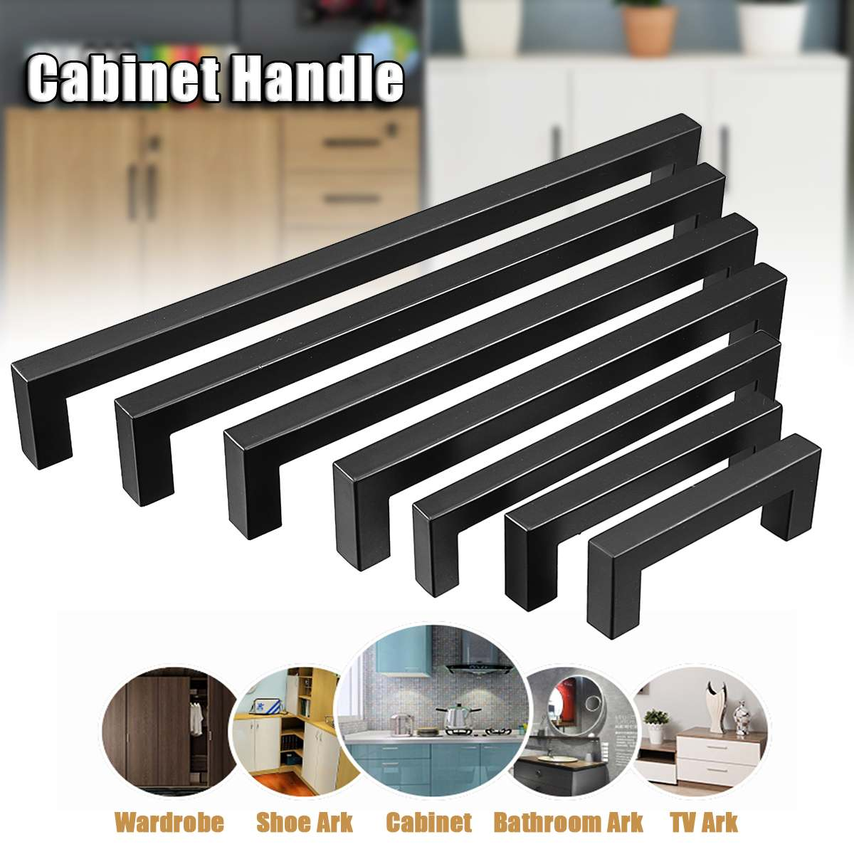 3-15Inch Black Stainless Steel Square Closet Drawer Cupboard Pulls Bathroom Cabinet Handles Door Knobs Furniture Kitchen Cabinet
