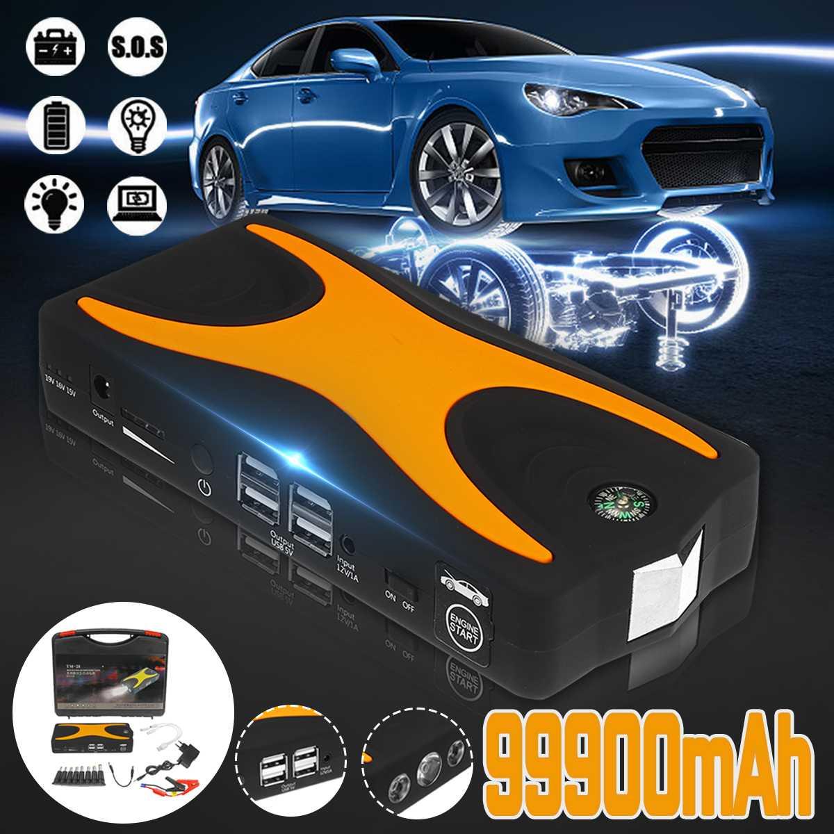 99900 mAh Auto voiture saut démarreur 15 V 4USB 900A Portable voiture batterie Booster chargeur Booster batterie externe dispositif de démarrage