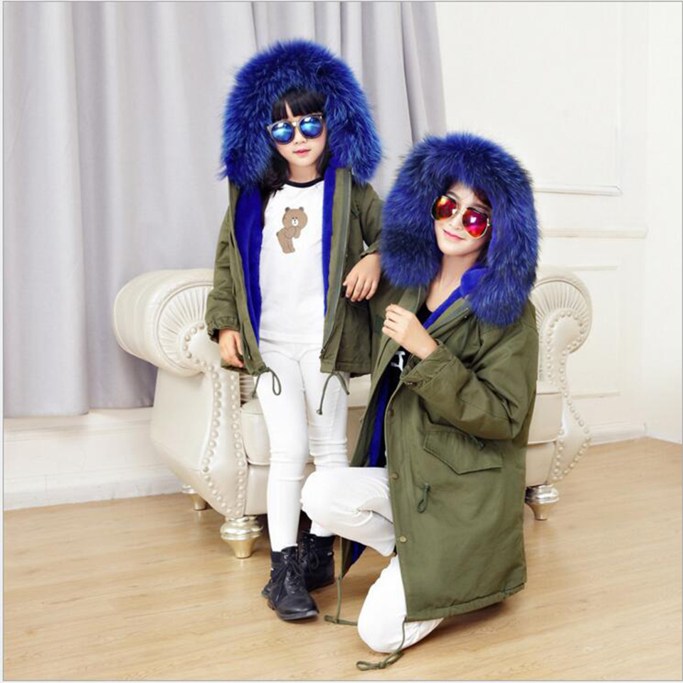 Army Green Rabbit Fur Coat Winter Parent-Child Outfits Parkas Clothes Fashion Matching Jackets Revisable Liner Hooded army green hooded design elastic straps coat