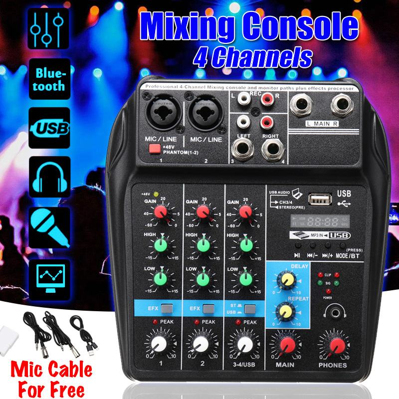 Portable Audio Mixer A4 Sound Mixing Console Bluetooth Record 48V Phantom Powe Effects 4 Channels Audio Mixer With USB