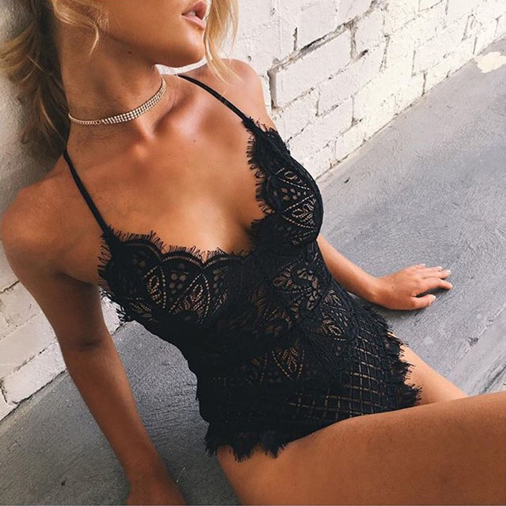 Embroidered Lace Bodysuit Women Hollow Out Sexy Deep V Neck Jumpsuit Bodycon Bodysuit Sleeveless Summer Romper Combinaison Beach in Bodysuits from Women 39 s Clothing