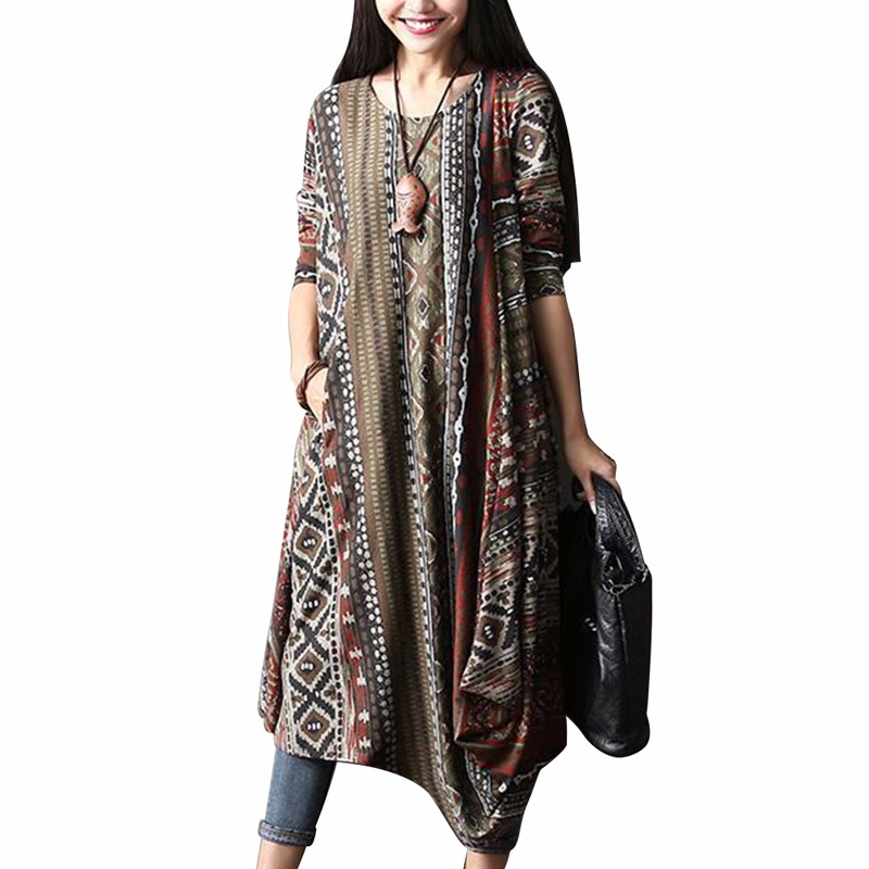 Plus size feminino floral impressão assimétrica bainha vestido zanzea outono o pescoço manga longa retro midi vestido lazer kaftan 5xl