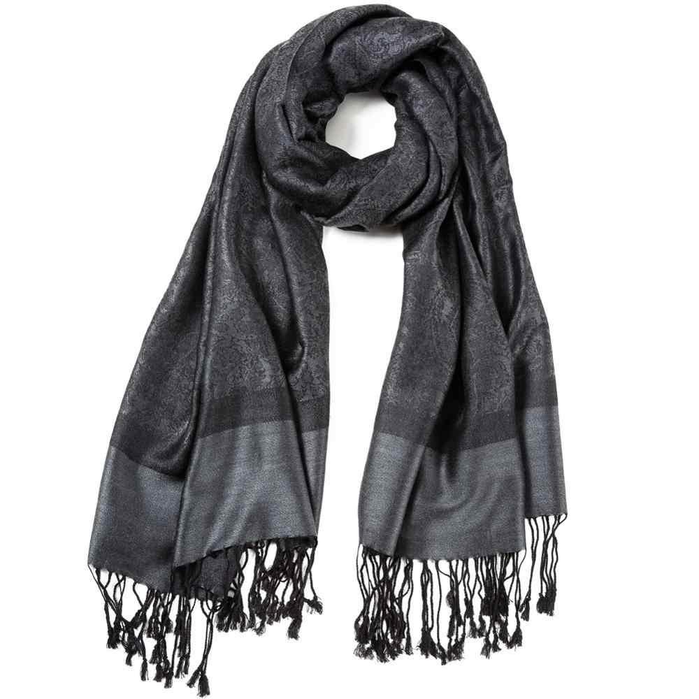 Пашимина шелк Пейсли шарф Жаккард основа зима весна осень шаль кашемир хиджаб длинный 2 тона мягкий большой темно серый черный