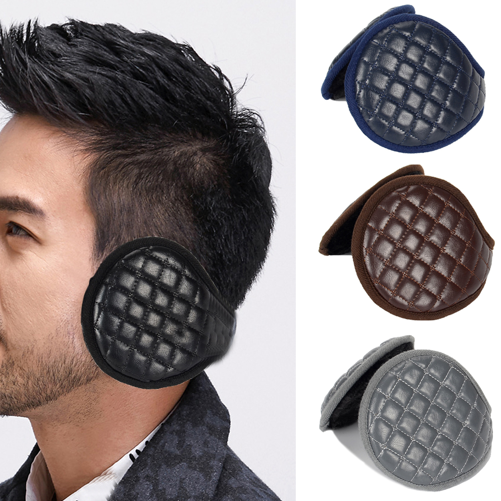 Foldable Adjustable Ear Muffs Men Adults Winter Plush Leather Thicken Ear Warmers Sports Cycling Ear Protection Cover #129