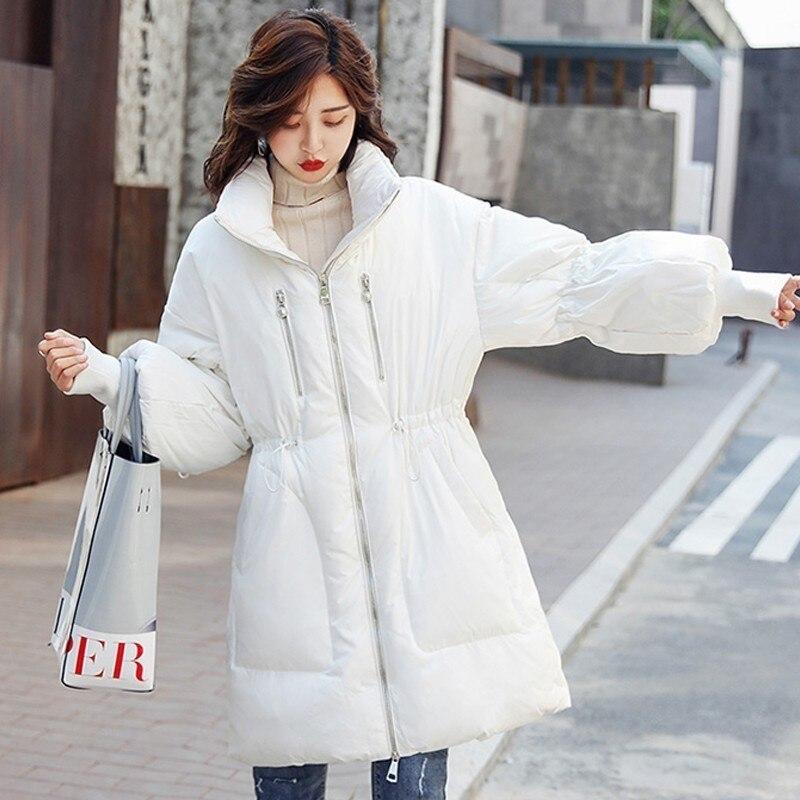 Manches Longue Col white Mode Plume Femmes Veste Montant Hiver Outwear Noir Plus Puff Casual Taille Canard Lâche Black Blanc Manteau Femme 02 10qa41S7wp