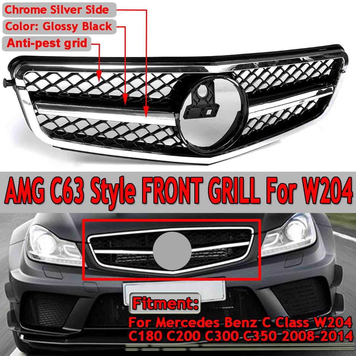 1x For AMG C63 Style Car Front Upper Grille <font><b>Grill</b></font> For Mercedes For <font><b>Benz</b></font> C Class <font><b>W204</b></font> C180 C200 C300 C350 2008-2014 Racing Grille image
