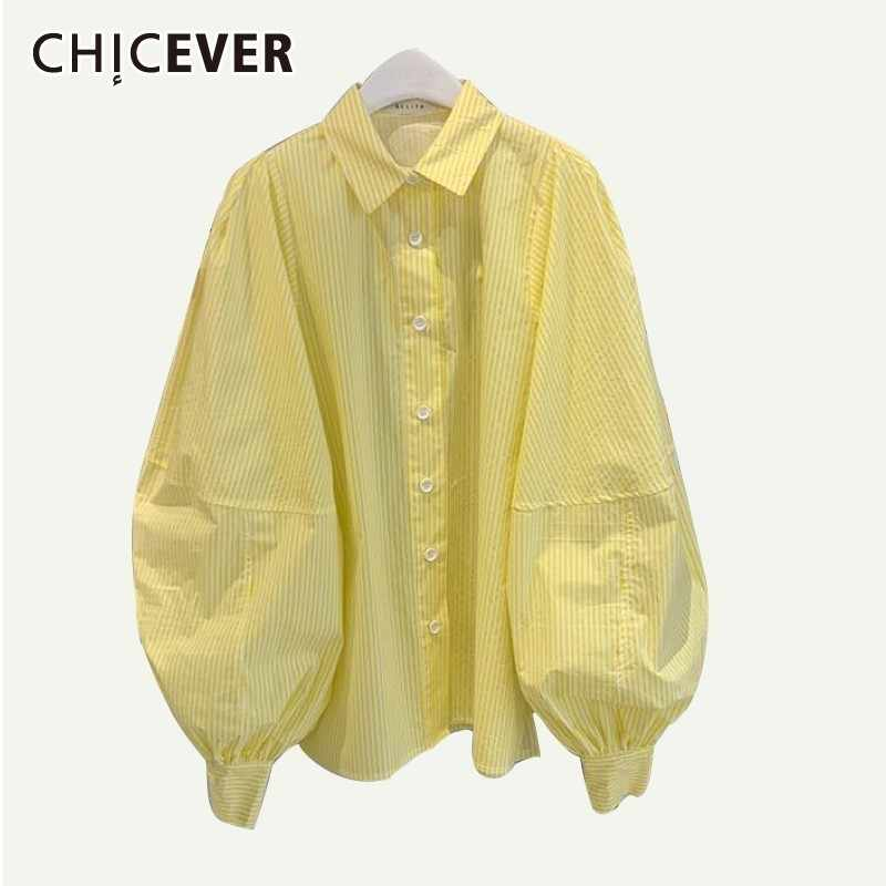 CHICEVER Lente Gestreepte Geel Vrouwen Shirt Revers Bladerdeeg Mouw Knop Losse Plus Size Slanke Vrouwelijke Top Kleding 2019 Mode Nieuwe