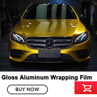 High end Glossy Metallic Yellow Gold Vinyl Wrap Air Release Full Car Cover Candy Yellow Car Styling low initial tack adhesive