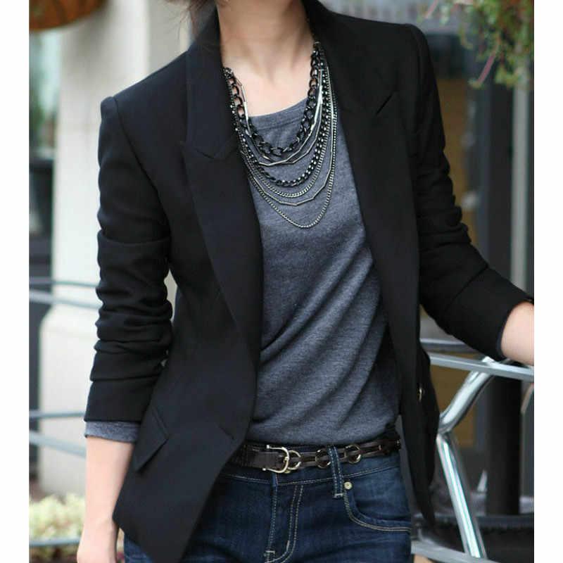 ファッションオフィスレディ黒ブレザープラスサイズコートカジュアルワンボタンの