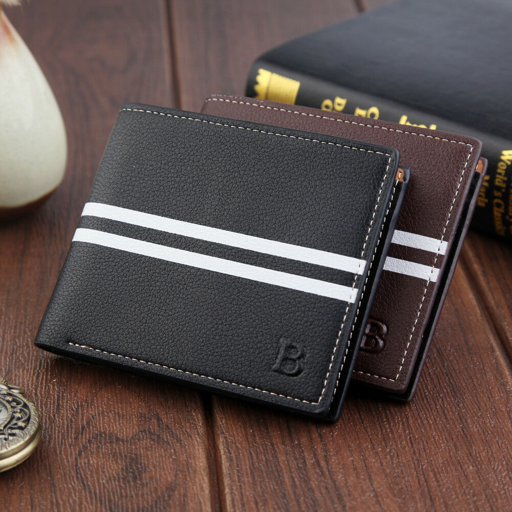 Men's Fashion Wallet PU Leather Classic Double Fold Stripe Card Package