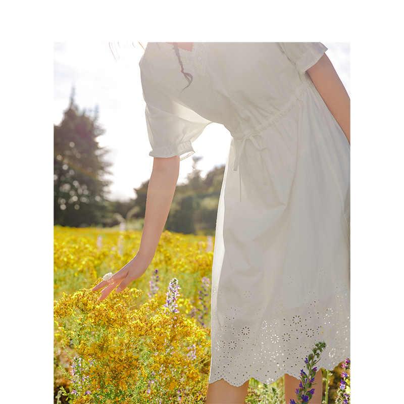 をインマン 2019 夏新到着綿レース V ネックバットスリーブ定義ウエスト A ライン文学女性ドレス