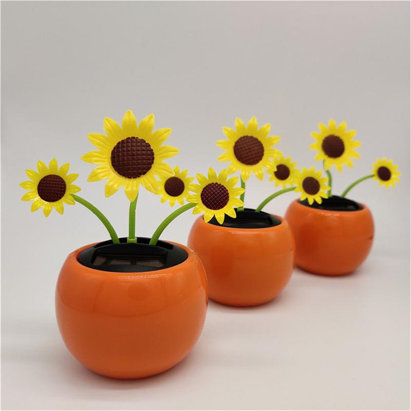 Solar Sunflower Auto Parts Moving Head Car Decoration Jewelry Personality Creative Interior Modeling 2019 new