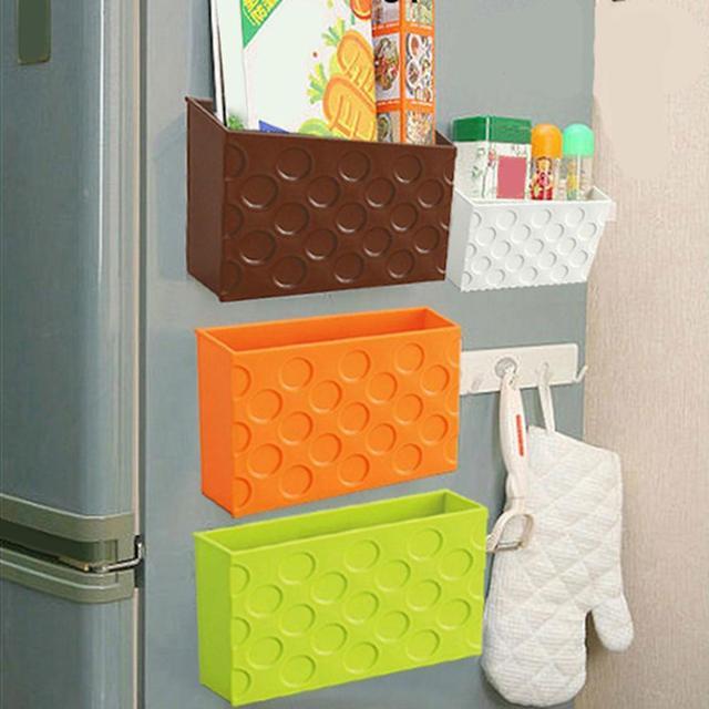 Fridge Magnet Storage Organizer Plastic Rack Shelf Box Magnetic Tableware Storage Boxes & Bins New