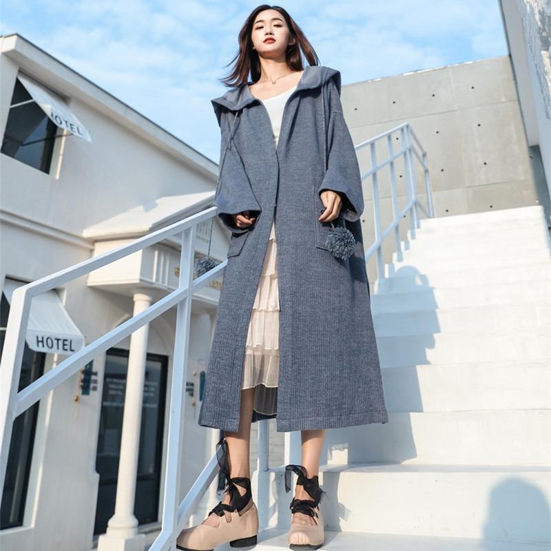Col De Nouveau 2019 Type Chandail Poches Femelle Oversize Mode blue Cardigan Capuche Lanmrem Broderie Long Ye87802 Grand Robe Gray 57wqPI