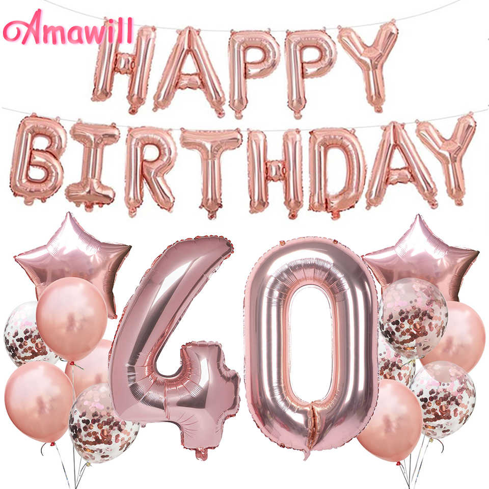 AMAWILL Rose Gold Happy 40 Years Old Decorations 32 Inch 40th Happy Birthday Confetti Balloons Birthday Party Decor Supplies 7D