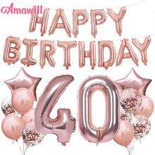 AMAWILL Rose Gold Happy 40 Years Decorations 32 pouces 40th Happy Birthday confettis ballons fournitures de décoration de fête d'anniversaire 7D