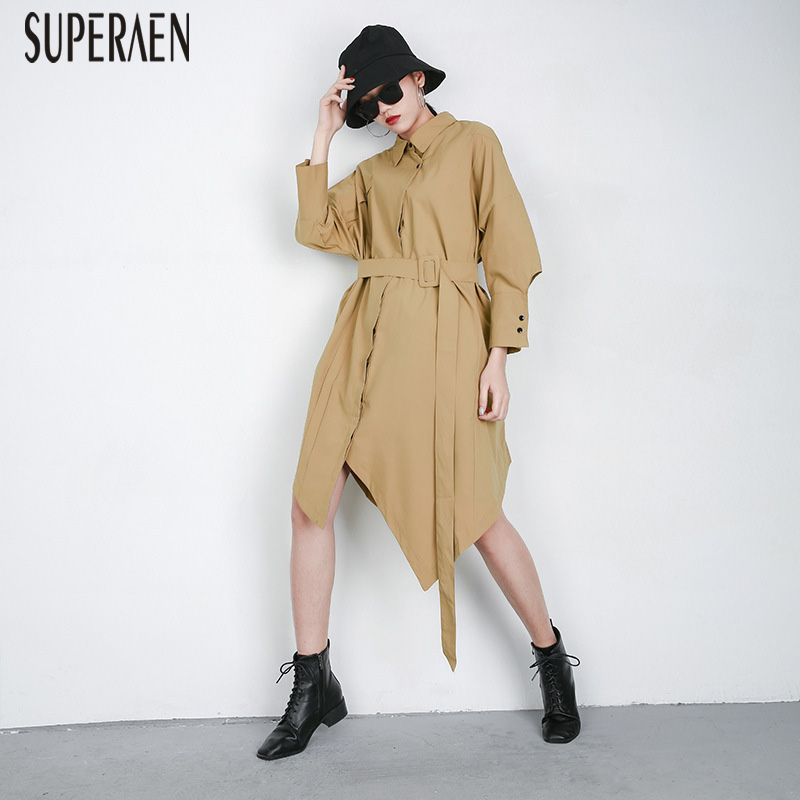 SuperAen Europe   Trench   Coat for Women Cotton Wild Casual 2019 Spring New Solid Color Windbreaker Female Pluz Size Irregular Coat