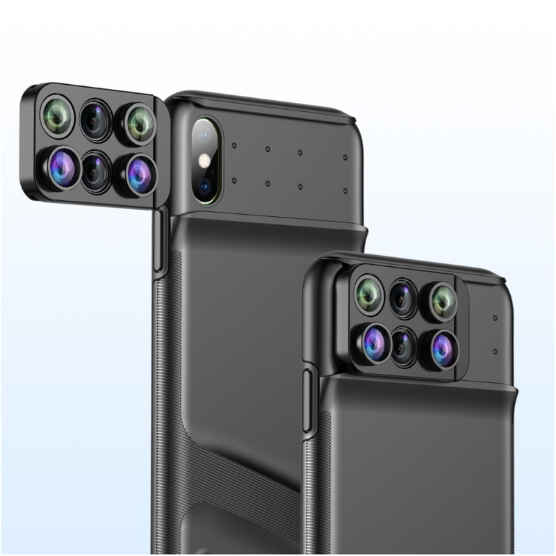 For iPhone Xr Xs Max Case with Wide Angle Macro Fisheye Lens Luxury Coque Phone Camera Fish Eye Lenses Webcam Slider Cover Funda