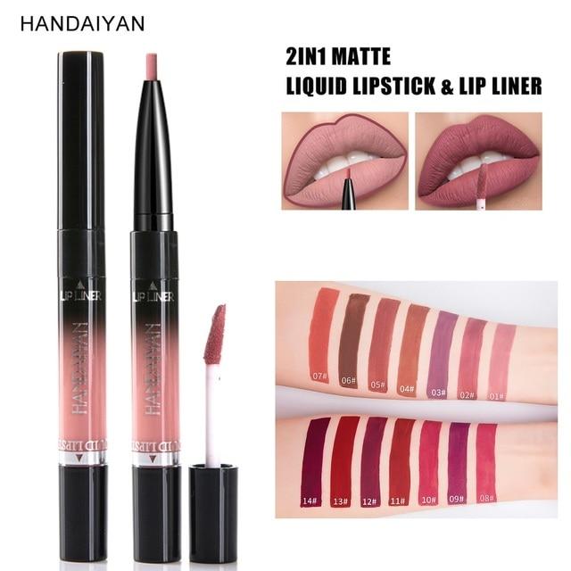 HANDAIYAN New Arrive 2 In 1 Matte Lip Gloss Lip Liner Pencils 14 Color Waterproof Long Lasting Pigments Nude Color Pen TSLM2