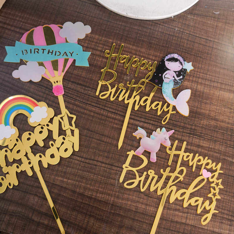 1PCs Unicorn Cake Topper Acrylic Mermaid Happy Birthday Cake Toppers For Baby Shower Cake Flags Personalized Cake Decoration