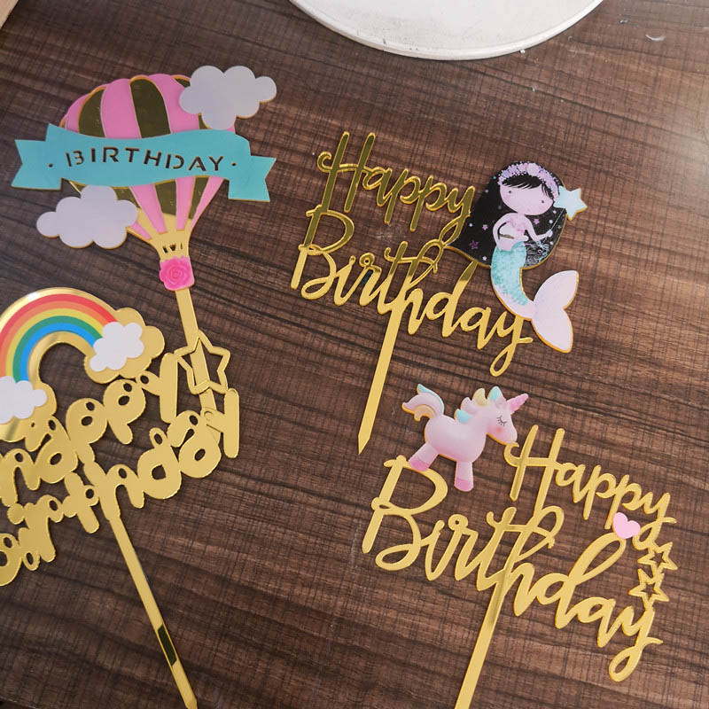 1PCs Unicorn Cake Topper Acrylic Mermaid Happy Birthday Toppers For Baby Shower Flags Personalized Decoration