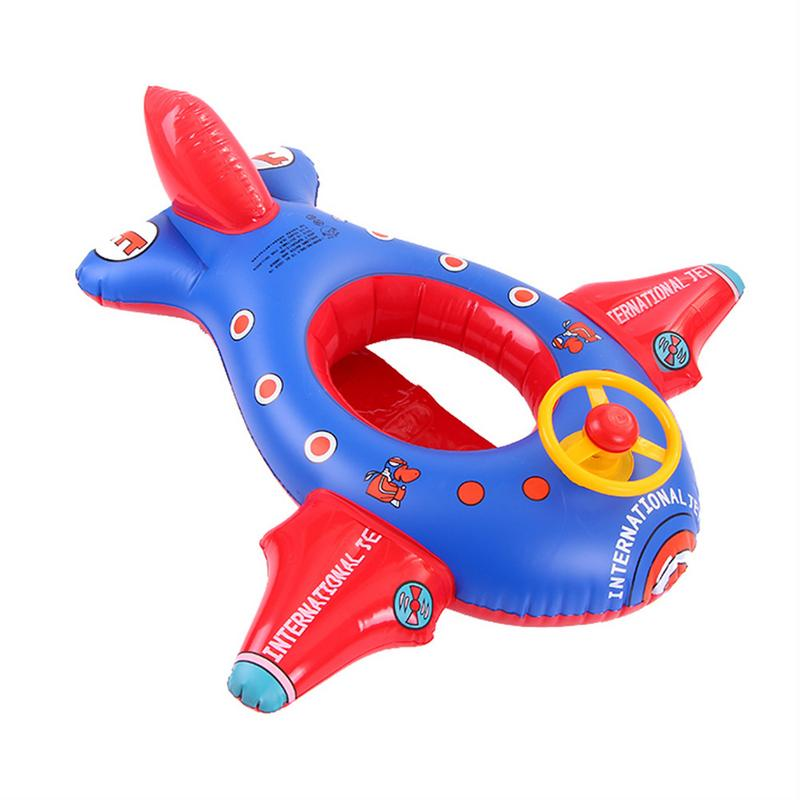 Children's Swimming Ring Cartoon Large Aircraft Inflatable Thickening With Direction Seat Boat Float Motorboat Harmless PVC