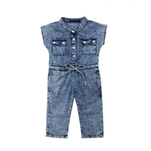 Summer Toddler Kids Baby Girls Jeans Denim Rompers Jumpsuits Playsuit Outfits