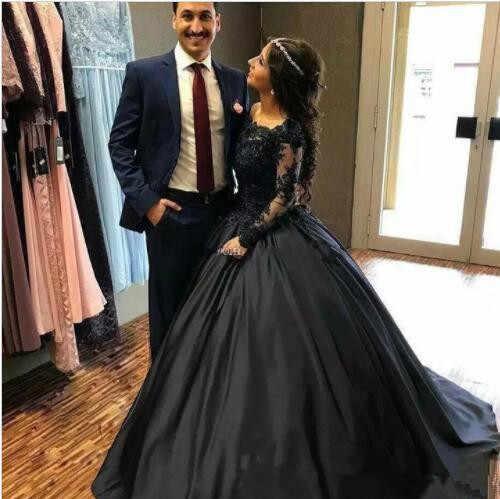 Eightale Navy Blue Black Wedding Dress