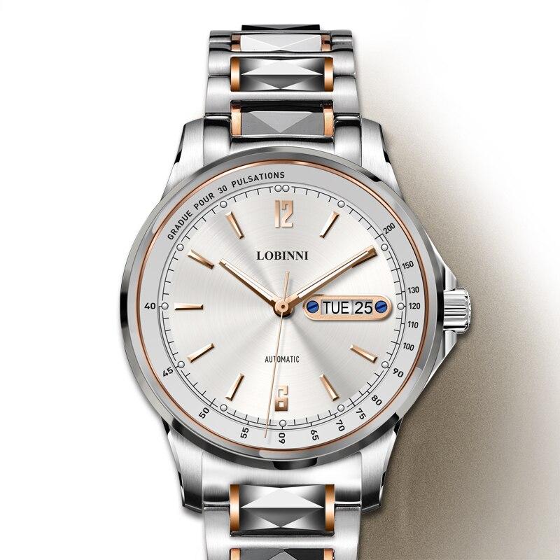 Luxus Marke LOBINNI Schweiz Uhr Männer Japan MIYOTA Automatische Mechanische herren Uhren Saphir Wasserdicht relogio L9012 4-in Mechanische Uhren aus Uhren bei  Gruppe 1