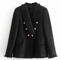 2018 Winter Women Black Tweed Blazer Coat Golden Buttons Decor Slim OL Style Jackets with Pockets