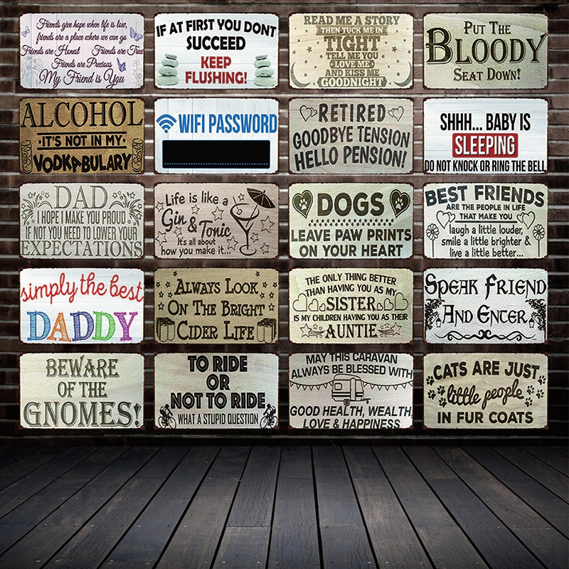 [ Mike86 ] Qoute SLEEPING CATS DOGS DADDY ALCOHOL Metal Sign Wall Plaque Poster Home Retro  Christmas Gift Decor Art FG-512
