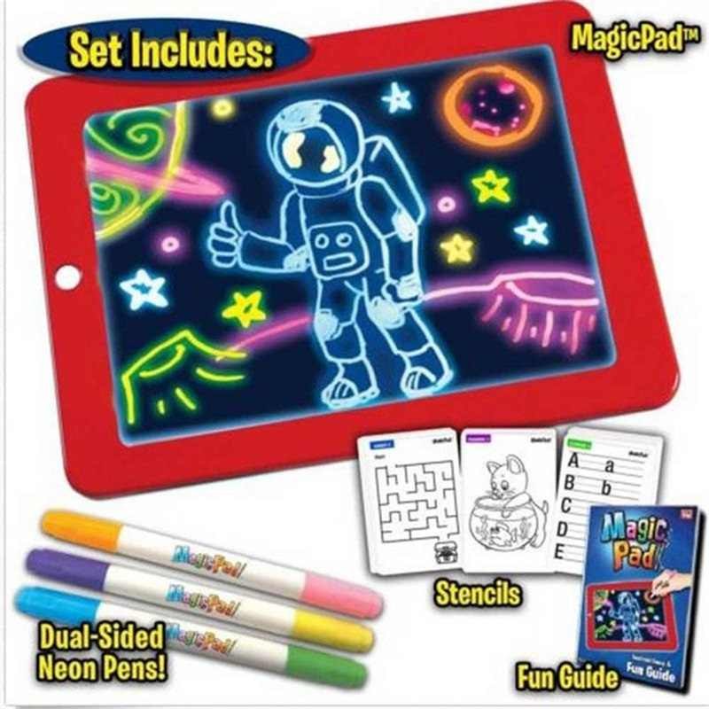 3d Drawing Board Toys Light Up Colorful Pen Painting Tablet Erasable Doodle Sketch Painting Glow In The Dark Kids Drawing Toy