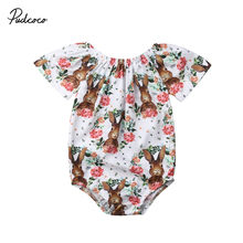 2019 Summer Easter Baby Girls Bunny Flowers Romper Rabbit Jumpsuit Outfits for Newborn Infant Children Clothes Kid Clothing(China)