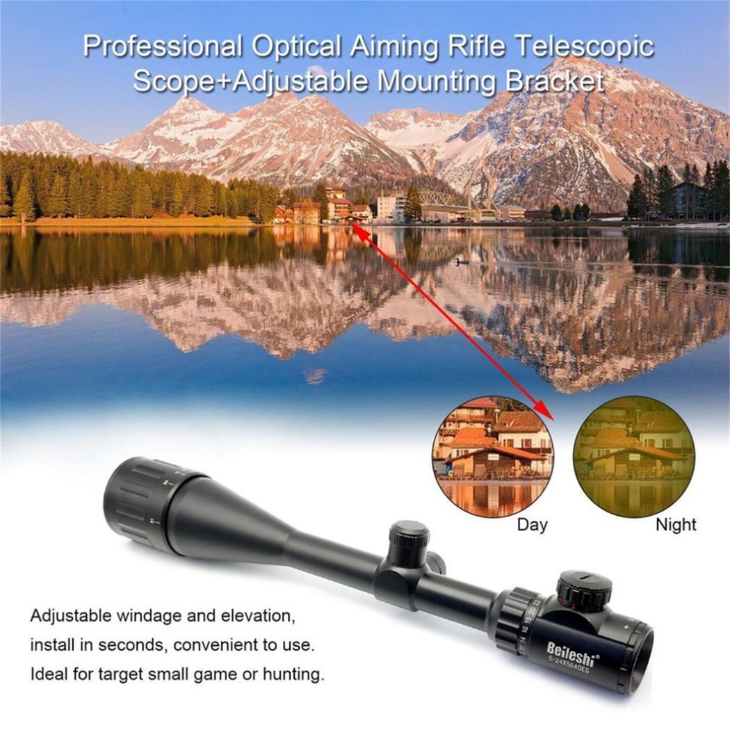 Optique Visant Fusil Télescopique Portée Extérieure 50mm Noir Chasse 6-24X Réglable De Montage 405mm kit de support
