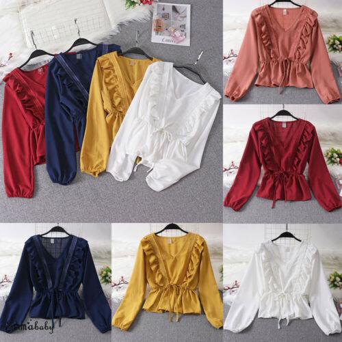 2019 Women  Ruffle Shirt Lantern Sleeve Chiffon V-neck Elastic Waist Tops Loose Tee Casual Blouse