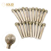 20Pcs 12mm Head 1/4 Shank Spherical Diamond Grinding Head Mounted Point Burrs Drill Bits Rotary Tool for Carving Grinding 60#