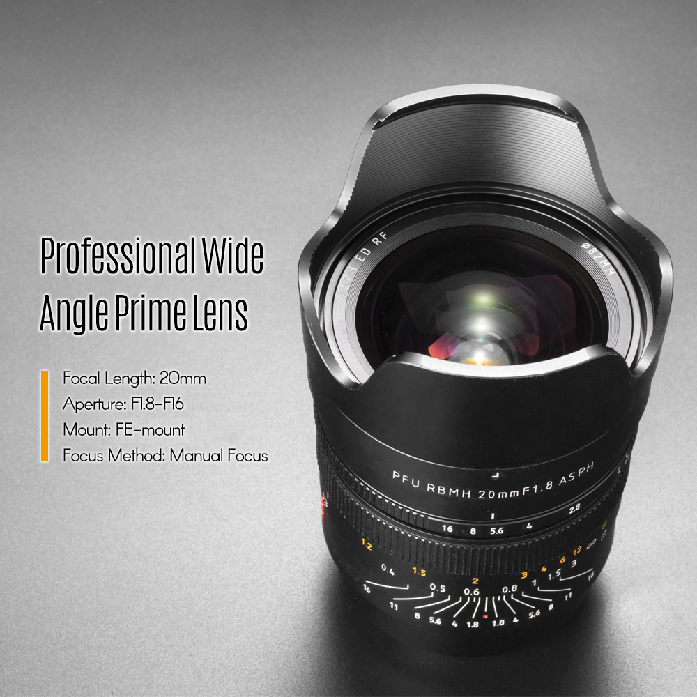VILTROX FE 20mm F1 8 E mount MF Full frame Wide Angle Prime Lens for Sony