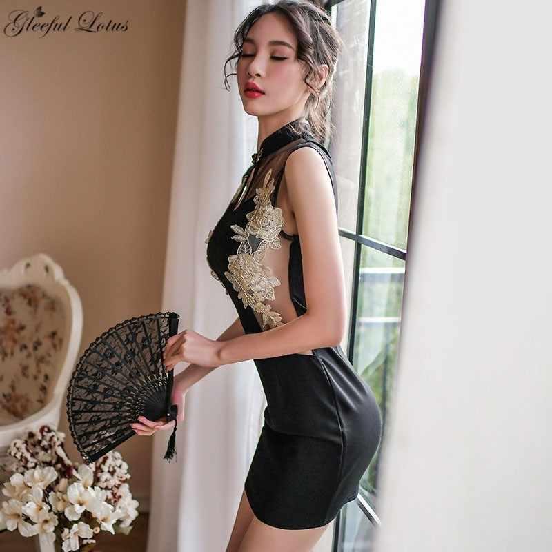 Экзотические мини платье Сексуальная Клубная одежда вышивка Сексуальная Babydoll Горячие эротический для стриптиза одежда для женщин женское белье Фэнтези секс