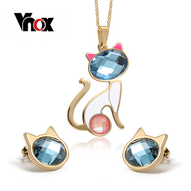 """Vnox Animal Crystal Jewelry Sets for Women Cute Cat/Owl Necklace and Earring Party Jewelry 18"""" Chain"""