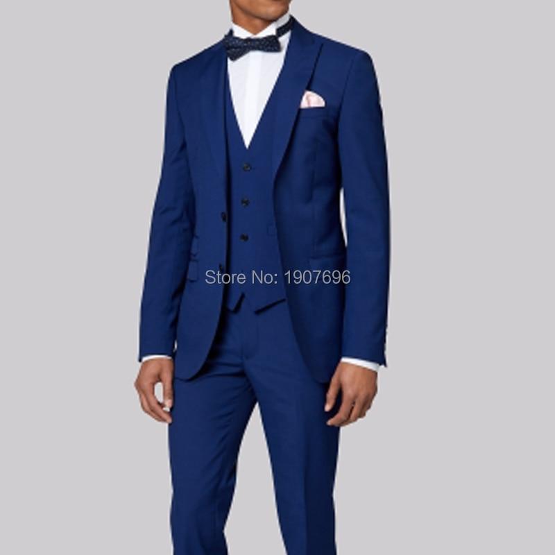 Królewski niebieski szyte na miarę Groom smokingi dla mężczyzn garnitury ślubne Prom Party kostiumy sceniczne 3 sztuka garnitury męskie zestaw kurtka spodnie kamizelka w Garnitury szyte na miarę od Odzież męska na  Grupa 1