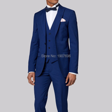 Tailor Made Groom Tuxedos for Wedding Mens Suits Royal Blue Prom Party Stage Costumes 3 Piece Man Suits Set Jacket Pants Vest blue wedding groom tuxedos for man ceremony prom suit 3 piece smoking business party men suits custom made jacket vest pant