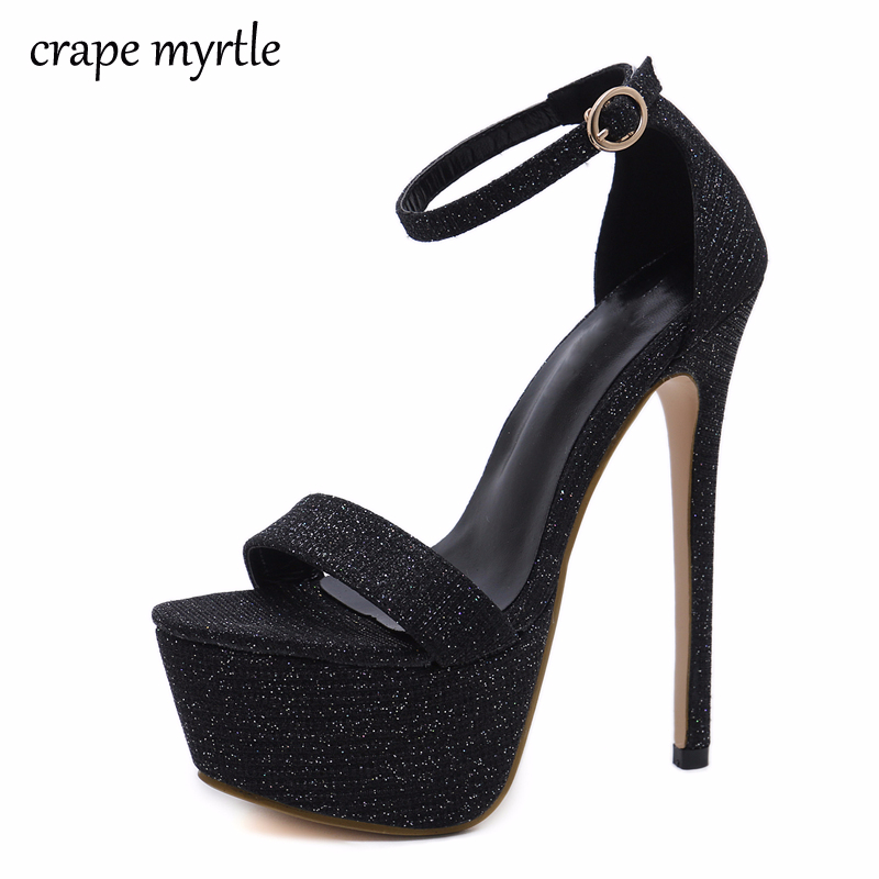 GBHHYNLH 2018 New Summer Sexy Femmes Talons hauts Sandales Mode Stripper Chaussures Parti Pompes Femmes Plate-Forme bling Sandales YMA324
