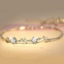 Clover Silver Bracelet Jewelry 5-leaf Carnation Lovers Gold Bohemia for Women Chain Accessories Gift
