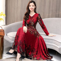 High Quality Hot Sale Plus Size S 3XL 2019 Spring New Arrival Fashion V Collar Flower Printed Long Sleeve Woman Long Dress