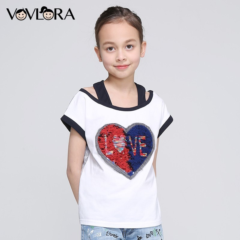 Girls T Shirt Tops Heart Double Sequins Striped Kids Cotton T Shirts Letter Children Clothing Summer Size 9 10 11 12 13 14 Years цена