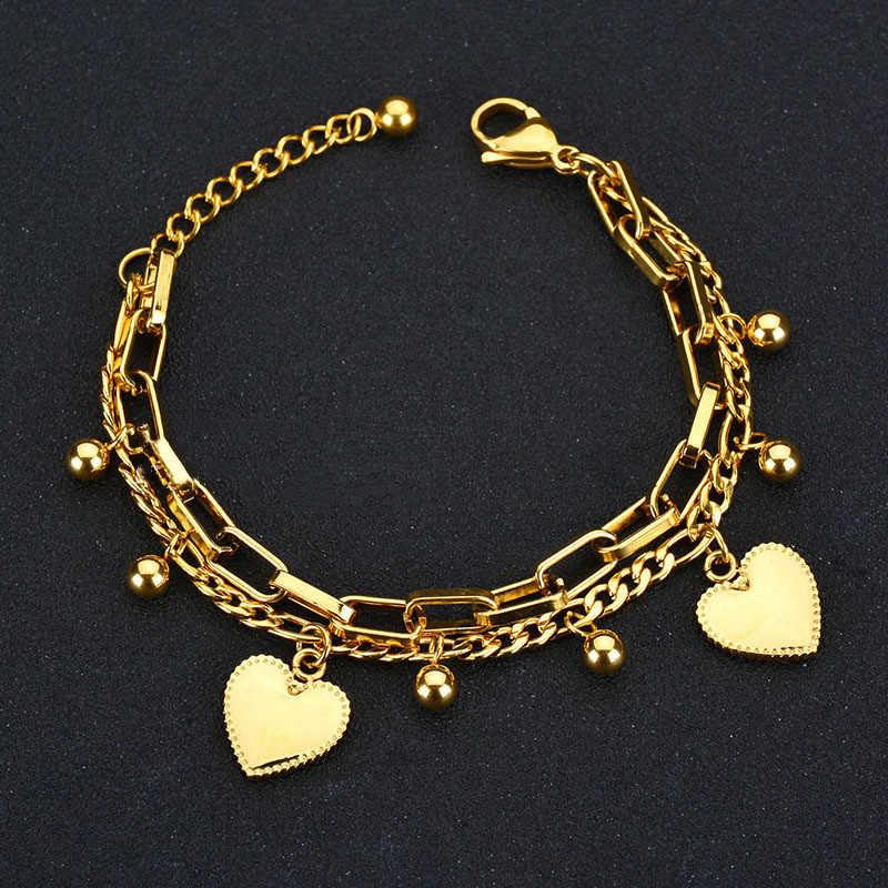 חדש רב שכבתי שרשרת חרוז לב צמידי נשים תכשיטי זהב נירוסטה צמיד נשי מתנת אישה צמיד וצמידים