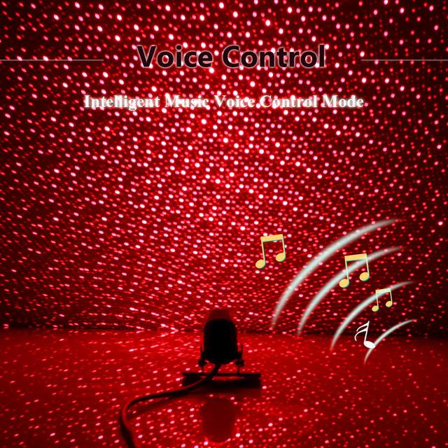 FORAUTO Car Atmosphere Star Lights DJ Music Sound Lamp Starry Projection Voice Control Car Roof Light Interior Decorative Light