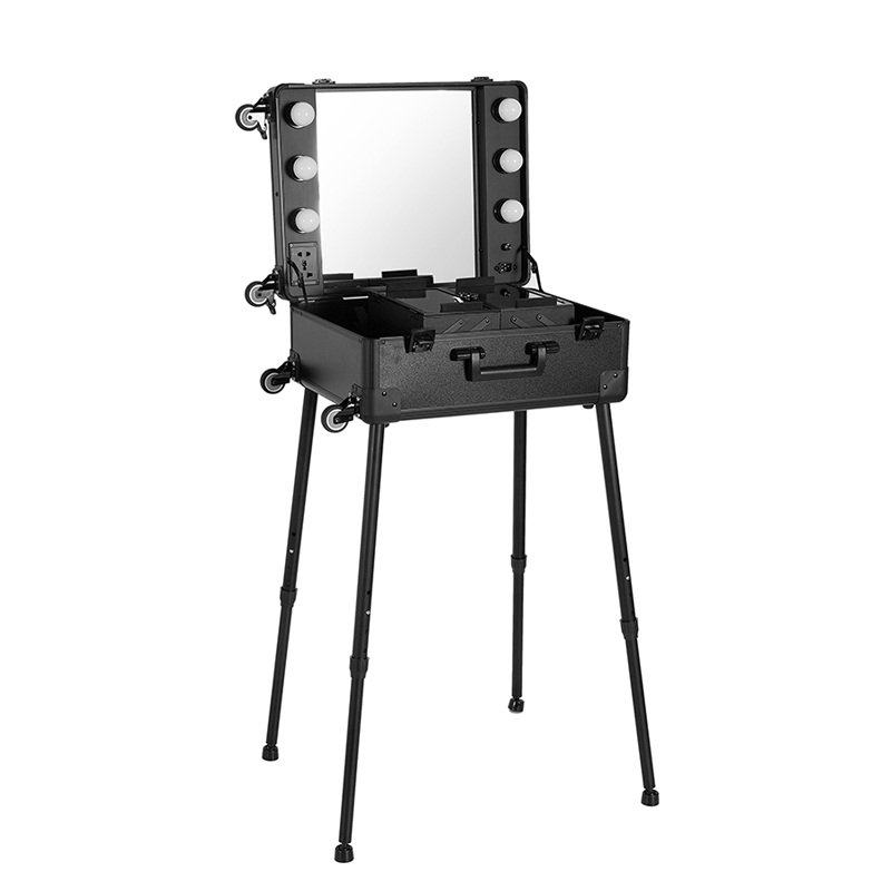 Makeup Case,Professional Artist Studio Cosmetic Train Table w/4 Rolling Wheels & Lights & Mirror,Pro Makeup Station,Cover Board